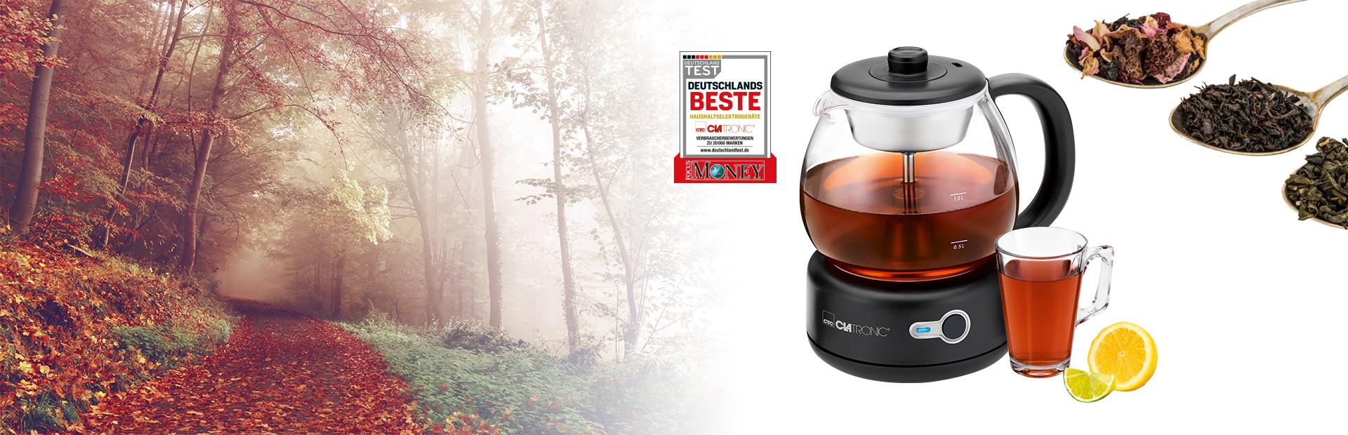 Intensiver und originaler Tee-Geschmack. Unser kabelloser Teekocher mit Perkolator-Teebrühsystem.